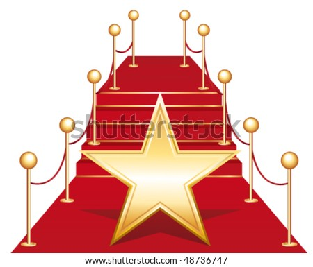 hollywood walk of fame vector star illustration famous sidewalk boulevard phonograph record repre stock photo © pikepicture