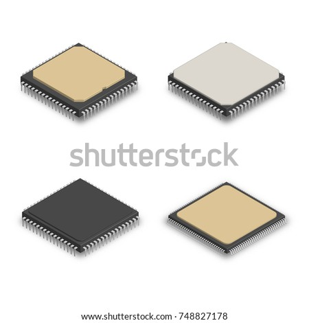 Set of different electronic components in 3D, vector illustration. stock photo © kup1984