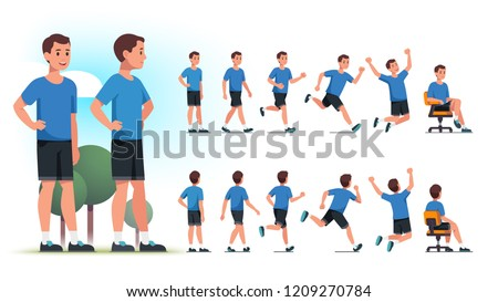 back view of young athletic sports man standing with hands on hi stock photo © deandrobot