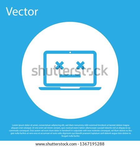 Broken computer. Dead PC Emoji. Blue screen of death. Vector ill Stock photo © MaryValery