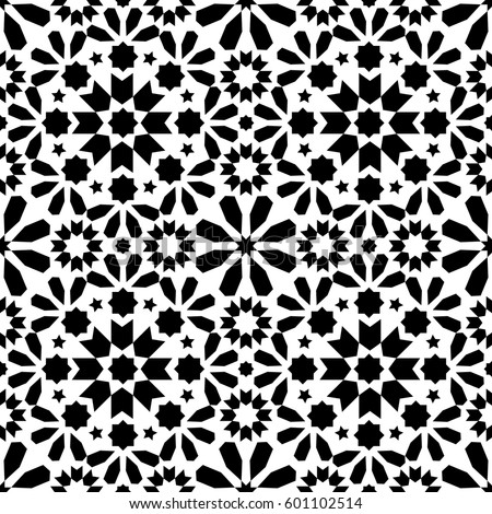 moroccan tiles design seamless black and white pattern geometric background stock photo © redkoala