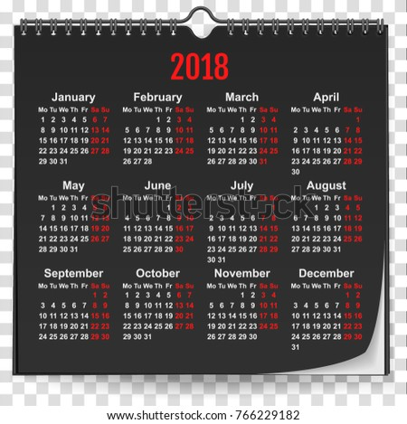 2018 black wall calendar mock up template with spring on transparent background Stock photo © orensila