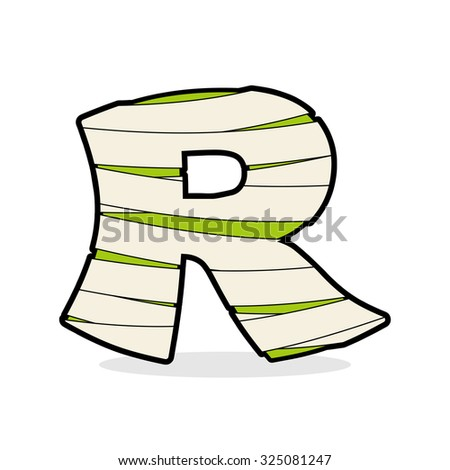 Letter R Monster zombie. Alphabetical icon medical bandages.  Eg Stock photo © popaukropa