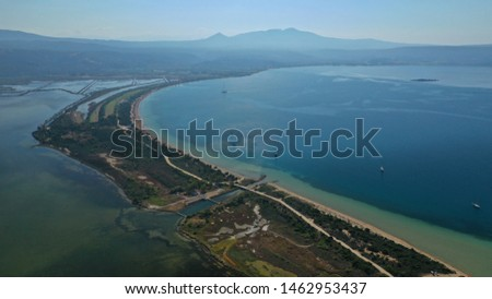 view of voidokilia beach and divari lagoon in the peloponnese region of greece from the palaiokastr stock photo © ankarb