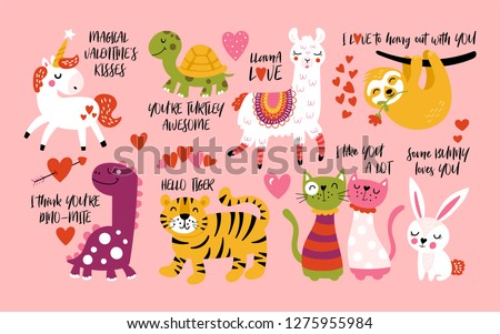 Valentines day card with cute unicorn animal, stickers and hand drawn letters Stock photo © ikopylov