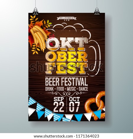 Oktoberfest poster vector illustration with flag on wood texture background. Celebration flyer templ Stock photo © articular