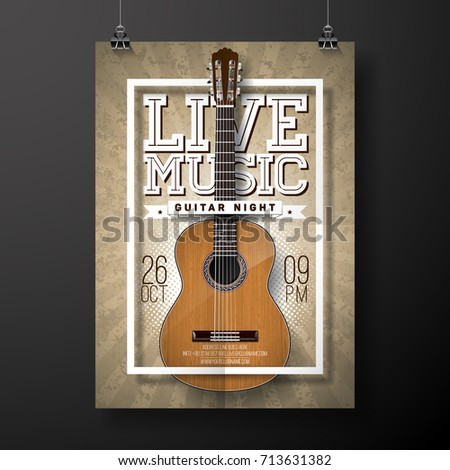 Live music flyer design with acoustic guitar on grunge background . Vector illustration. Stock photo © articular