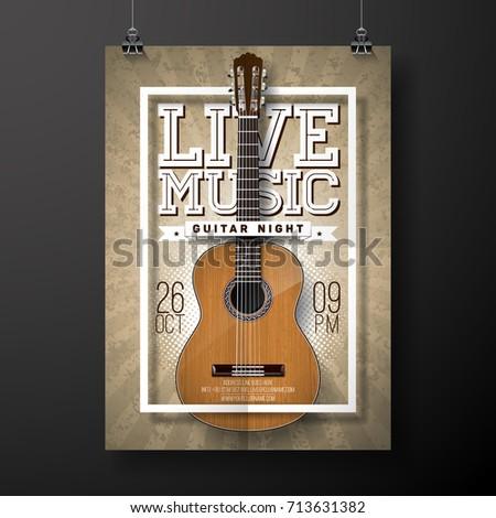 vivere · musica · flyer · design · chitarra · acustica · grunge - foto d'archivio © articular