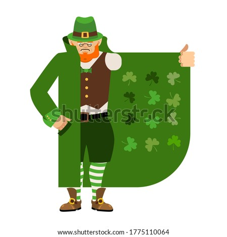 St Patricks Day. Leprechaun Smuggler selling Shamrock. Cloak-sel Stock photo © popaukropa