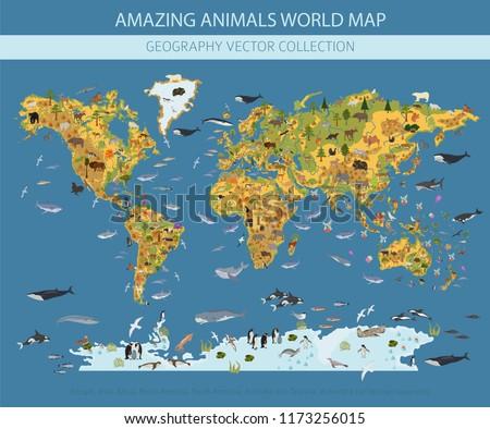 Kıta harita hayvan bitkiler flora fauna Stok fotoğraf © popaukropa