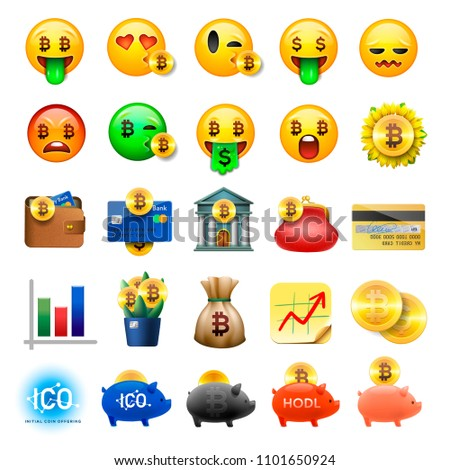 Set of cute smiley emoticons, emoji design, bicoin, business, crypto currency icons, vector ilustrat Stock photo © ikopylov