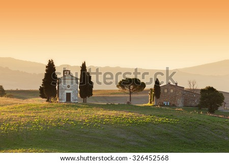 Italy; San Quirico d'Orcia; countryside landscape with red poppy Stock photo © Konstanttin