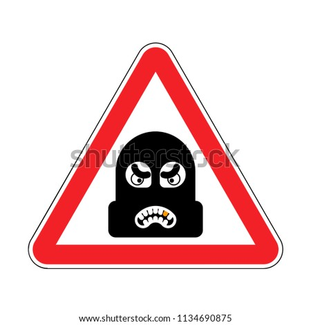 Attention Robber. Caution Rogue. It is forbidden Burglar. Red Ro Stock photo © popaukropa