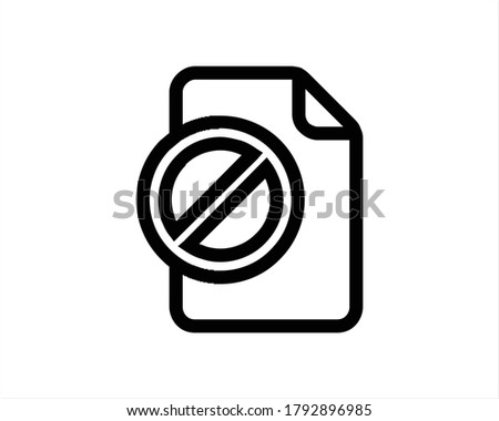Document file vector icon with forbid sign. flat sign for mobile concept and web design. Paper doc s Stock photo © kyryloff