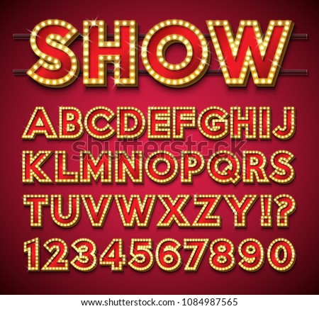 Light Bulb Alphabet with gold frame and shadow on red backgrond. Glowing retro vector font collectio Stock photo © articular