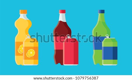 set of plastic bottle of water and sweet soda cola, sprite, fantasy orange soda. Flat vector soda ic Stock photo © MarySan