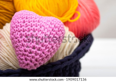 Multicolored Hearts with a balls of thread on white wooden backg Stock photo © vlad_star