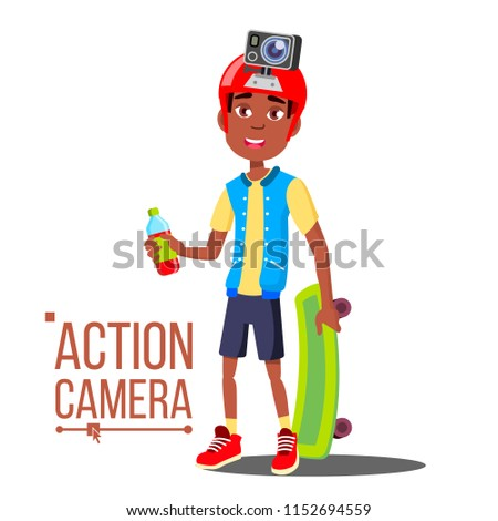Kind jongen actie camera vector afro Stockfoto © pikepicture
