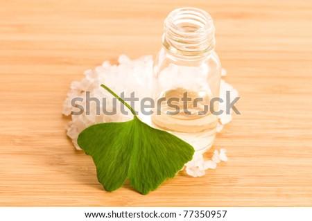 fresh leaves ginko biloba essential oil and sea salt   beauty tr stock photo © joannawnuk