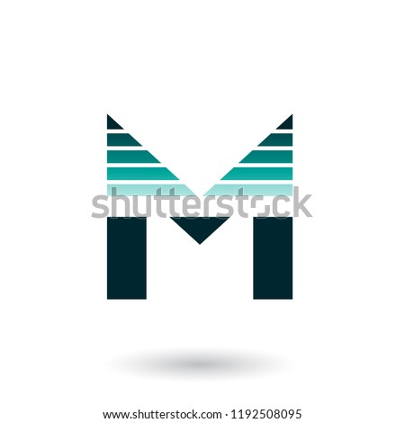 Green Spiky Letter M with Horizontal Stripes Vector Illustration Stock photo © cidepix