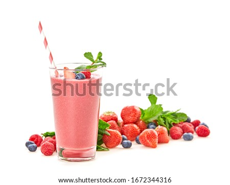 Strawberry smoothie in glass with mint Stock photo © dash