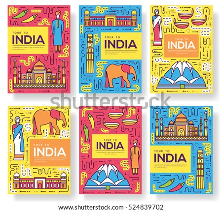 india vector brochure cards thin line set country travel template of flyear magazines posters bo stock photo © linetale
