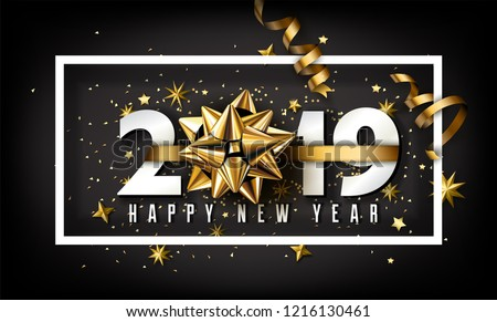 2019 Happy New Year Background Vector. Decoration Element. Beautiful Golden Tinsel. Christmas. Illus stock photo © pikepicture