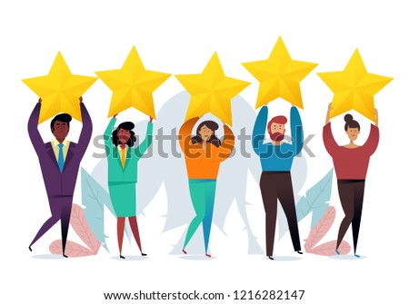 customer rating the best estimate of performance the score of five points people leave feedback a stock photo © makyzz