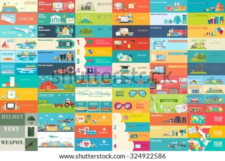 groot · collectie · banners · stijl · ingesteld - stockfoto © Linetale