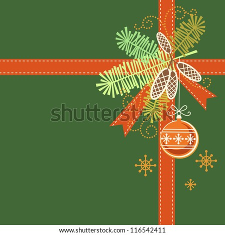 Winter stripe or fir branch with bow, ribbon, snowflakes and Christmas balls isolated on white backg stock photo © heliburcka