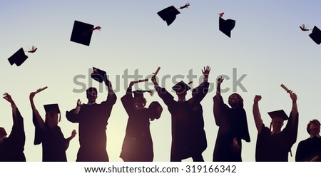 Student Hands Raised Up With Graduation Caps And Diplomas Vector. Isolated Illustration Stock photo © pikepicture