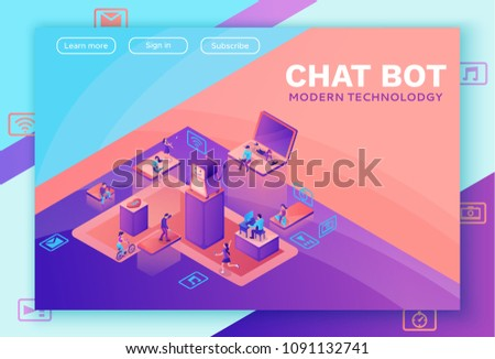 messenger bot and ai flat isometric vector landing page template stock photo © tarikvision