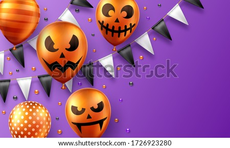 Halloween Sale vector banner illustration with scary faced pumpkin and tombstone on green background Stock photo © articular