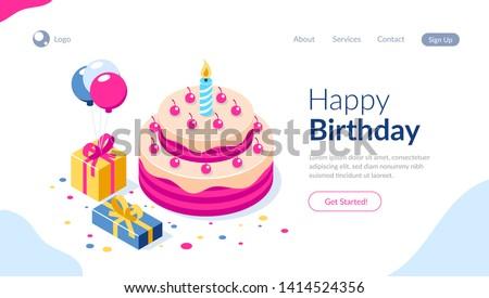 Feliz aniversário infográficos modelo ícones projeto produto Foto stock © Linetale