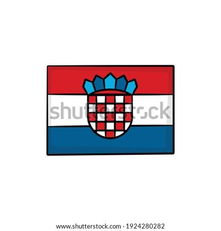 Dibujado a mano bandera Croacia aislado blanco vector Foto stock © garumna