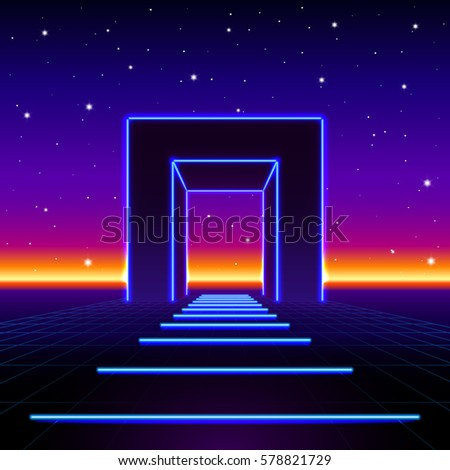 Neon 80s styled massive gate in retro game landscape with shiny road to the future Stock photo © SwillSkill