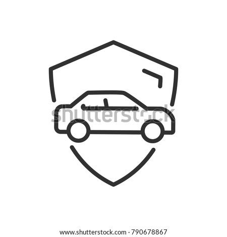 sécurité · bouclier · ligne · icône · vecteur - photo stock © kyryloff