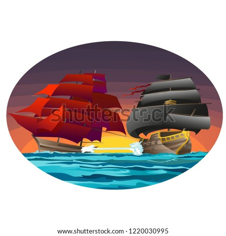 Oval poster with two sea ships with red and black sails. Vector cartoon close-up illustration. Stock photo © Lady-Luck