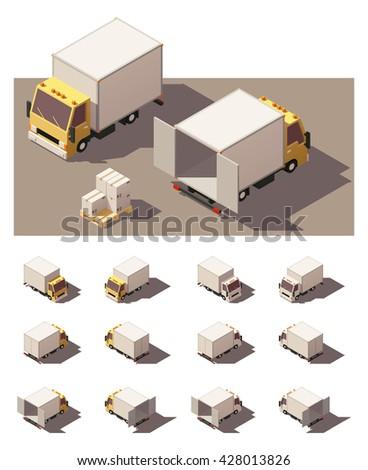 vector · isometrische · vrachtwagen · container · oplegger - stockfoto © tashatuvango