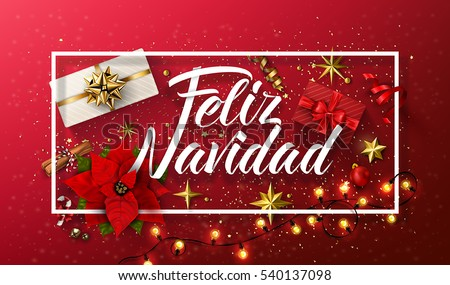 Vector Christmas Illustration with Spanish Feliz Navidad Typography on Red Background. Holiday Glass Stock photo © articular