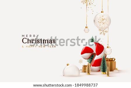 Joyeux Noël illustration or verre balle Photo stock © articular