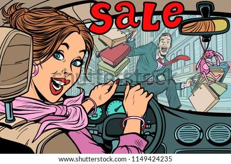 woman driver goes to the sale knocks down a man pedestrian roa stock photo © rogistok