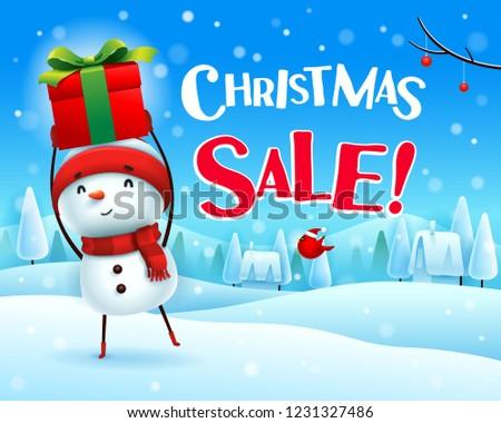 christmas · verkoop · vrolijk · sneeuwpop · omhoog · geschenk - stockfoto © ori-artiste