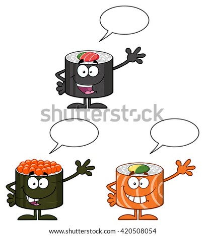 Talking Sushi Roll Cartoon Mascot Character Waving With Speech Bubble Stock photo © hittoon