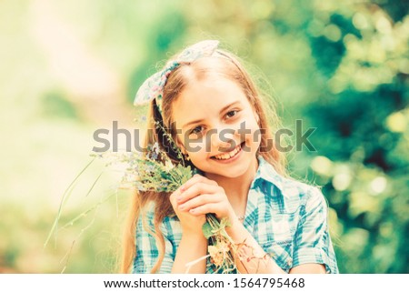 Natural beauty girl with bouquet of flowers outdoor in freedom enjoyment concept. Portrait photo Stock photo © artfotodima