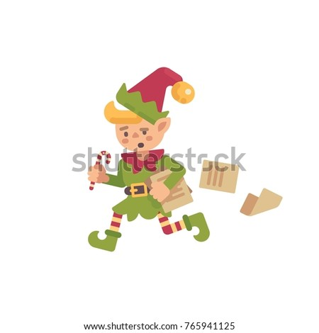 cute · occupés · Noël · elf · courir · papiers - photo stock © IvanDubovik