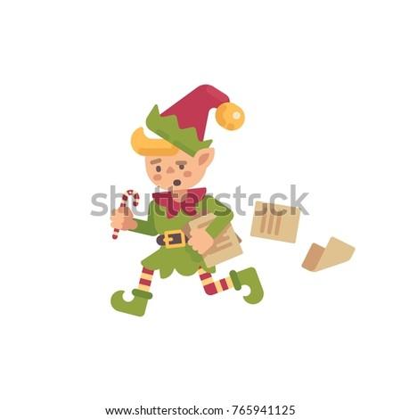 Sevimli meşgul Noel cin çalışma kağıtları Stok fotoğraf © IvanDubovik
