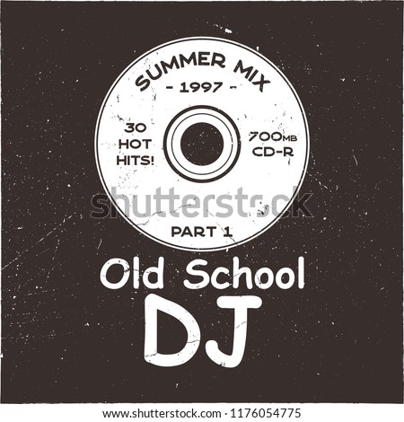 Music concept T-shirt design. Old School DJ tee with CD and sign - summer mix 1997. 90s funny poster Stock photo © JeksonGraphics