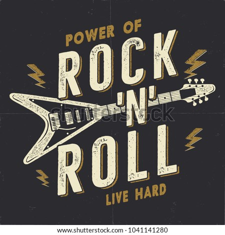 Vintage hand-drawn rock n roll poster. Music t shirt print design. Musical tee graphics with hand si Stock photo © JeksonGraphics