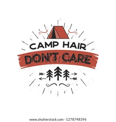 Kamp saç bakım tshirt dizayn açık havada Stok fotoğraf © JeksonGraphics